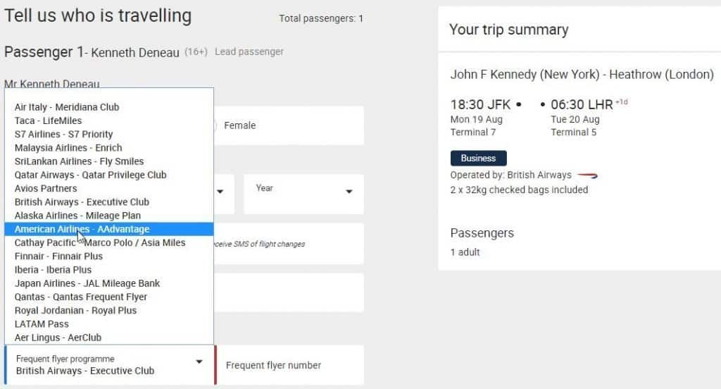 The British Airways booking page.