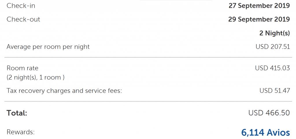 A screenshot showing a Hyatt Regency Chicago booking earning 6,114 British Airways Avios Points through Kaligo