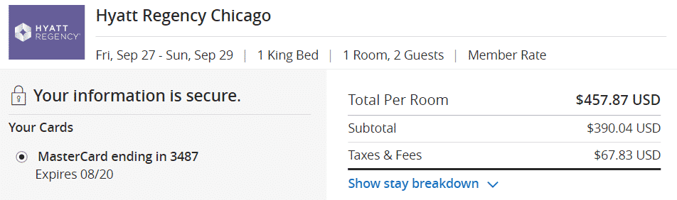 A screenshot showing the total cost of booking a stay at the Hyatt Regency