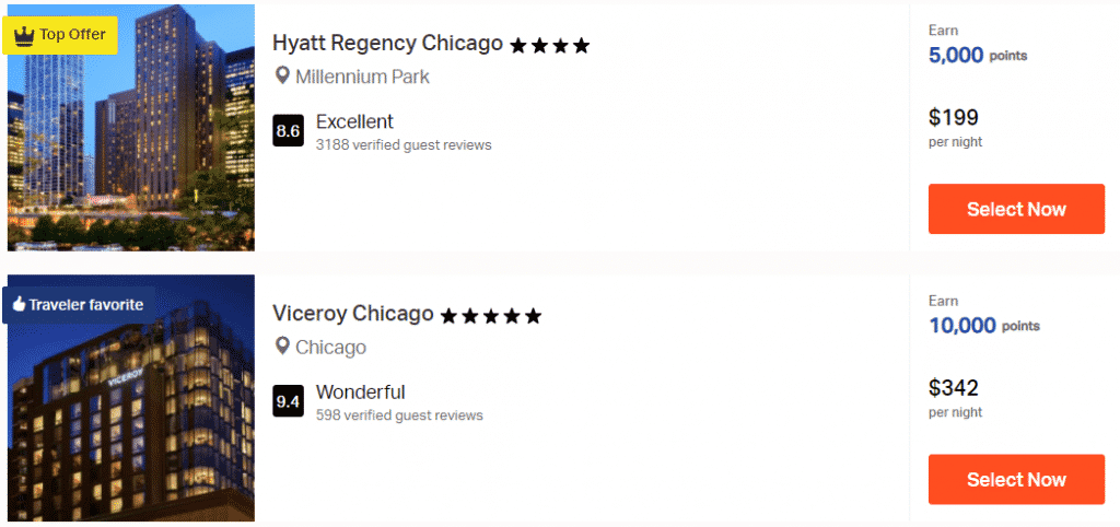 A screenshot showing the first two hotels offered when searching for Chicago hotels to earn AAdvantage miles through Rocketmiles
