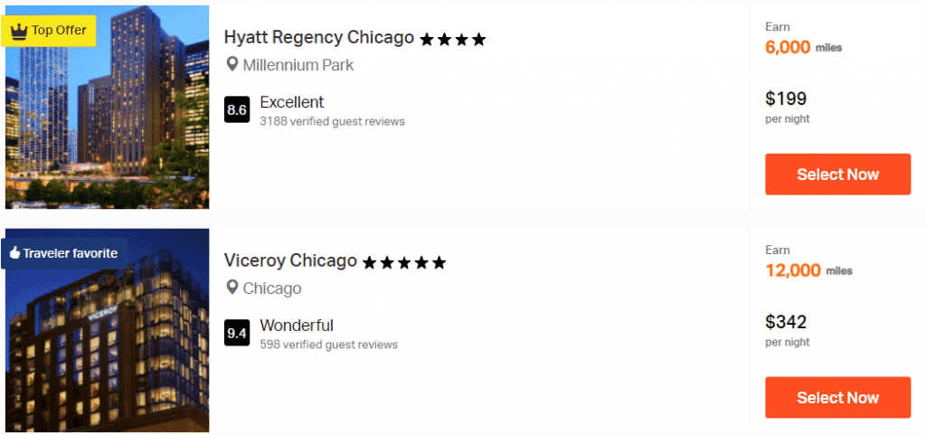 A screenshot showing the first two hotels offered when searching for Chicago hotels to earn Aeroplan miles through Rocketmiles