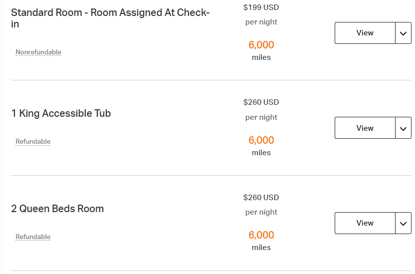 A screenshot showing the room types available when booking the Hyatt Regency Chicago through Rocketmiles