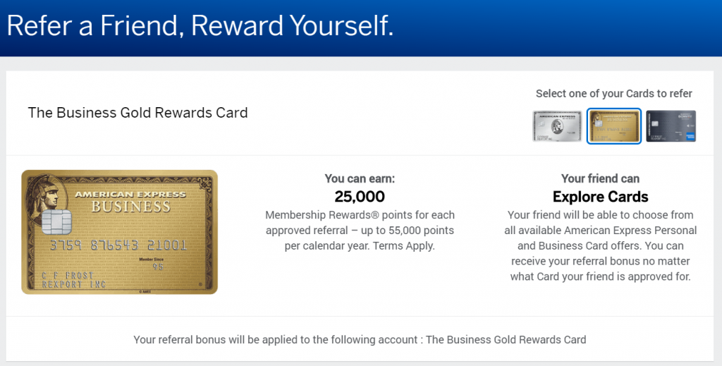 Screenshot of the referral bonus available through the Amex Business Gold Rewards Card.